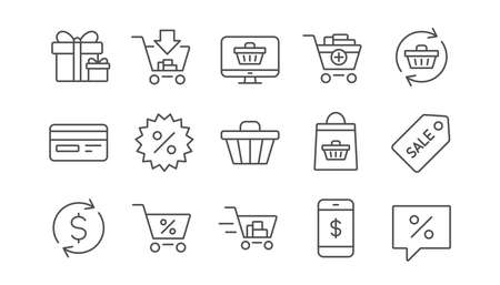 Shopping bag line icons. Gift, Present and Sale discount. Delivery linear icon set.  Vector Ilustração