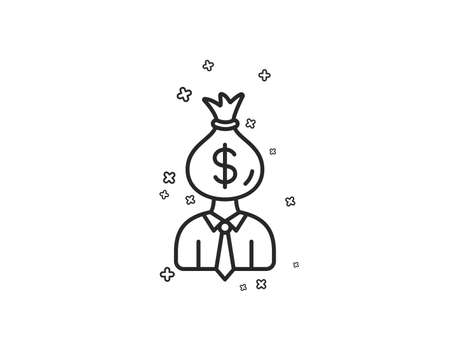 Businessman earnings line icon. Dollar money bag sign. Geometric shapes. Random cross elements. Linear Manager icon design. Vector