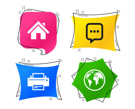Home main page and globe icons. Printer and chat speech bubble with suspension points sign symbols. Geometric colorful tags. Banners with flat icons. Trendy design. Vector  イラスト・ベクター素材