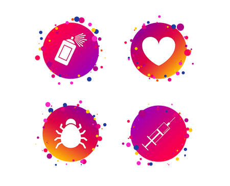 Bug and vaccine syringe injection icons. Heart and spray can sign symbols. Gradient circle buttons with icons. Random dots design. Vector Illustration