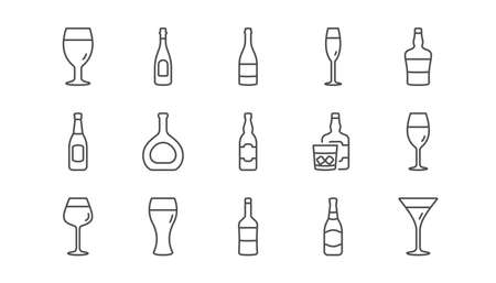Bottles line icons. Beer drinks, Wine glass and Whiskey bottle. Champagne linear icon set.  Vector Illustration