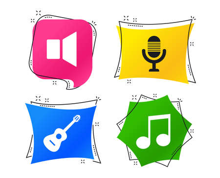 Musical elements icons. Microphone and Sound speaker symbols. Music note and acoustic guitar signs. Geometric colorful tags. Banners with flat icons. Trendy design. Vector  イラスト・ベクター素材
