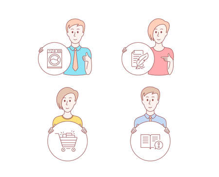 People hand drawn style. Set of Shopping cart, Washing machine and Feather signature icons. Facts sign. Gifts, Laundry service, Feedback. Important information. Character hold circle button. Vector