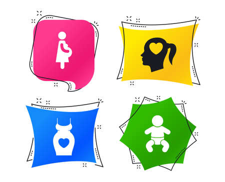 Maternity icons. Baby infant, pregnancy and dress signs. Head with heart symbol. Geometric colorful tags. Banners with flat icons. Trendy design. Vector Иллюстрация