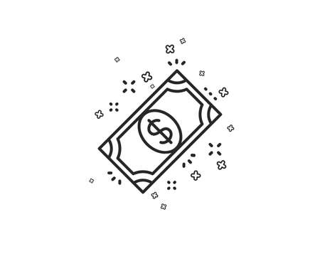 Payment line icon. Dollar exchange sign. Finance symbol. Geometric shapes. Random cross elements. Linear Payment icon design. Vector  イラスト・ベクター素材