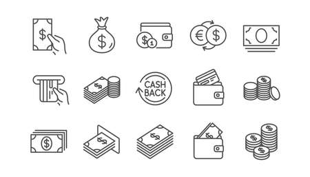 Money and payment line icons. Cash, Wallet and Coins. Account cashback linear icon set.  Vector Foto de archivo - 118231756