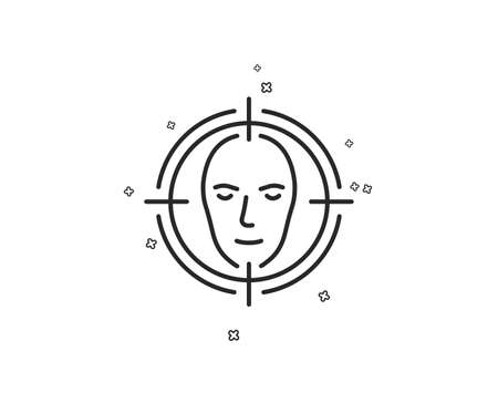 Face detect target line icon. Head recognition sign. Identification symbol. Geometric shapes. Random cross elements. Linear Face detect icon design. Vector