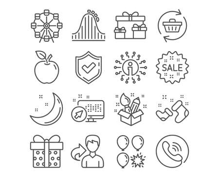 Set of Refresh cart, Sale and Creativity icons. Gift box, Ferris wheel and Surprise boxes signs. Balloon dart, Roller coaster and Santa boots symbols. Online shopping, Shopping star, Design idea