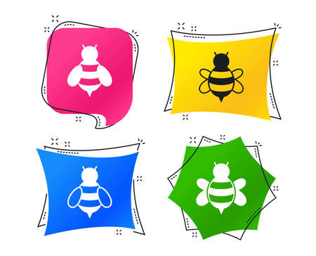 Honey bees icons. Bumblebees symbols. Flying insects with sting signs. Geometric colorful tags. Banners with flat icons. Trendy design. Vector Illustration