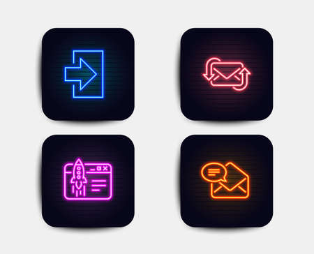 Neon set of Login, Refresh mail and Start business icons. New mail sign. Sign in, New e-mail, Launch idea. Received e-mail. Neon icons. Glowing light banners. Vector