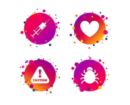Bug and vaccine syringe injection icons. Heart and caution with exclamation sign symbols. Gradient circle buttons with icons. Random dots design. Vector