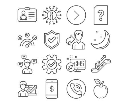 Set of Smartphone payment, Id card and Escalator icons. Service, Conversation messages and Correct answer signs. Forward, Success business and Unknown file symbols. Vector Ilustracja