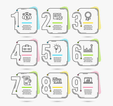 Infographic template with numbers 9 options. Set of Online survey, Idea and Approved documentation icons. Check investment, Report and Portfolio signs. Efficacy, Success and Online statistics symbols Illustration