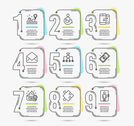 Infographic timeline set of Euro money, Share and Roller coaster icons. Mail, Phone communication and Strategy signs. Restructuring, Cream and Elevator symbols. Vector