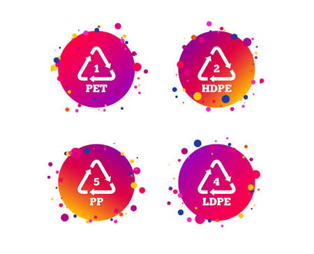 PET 1, Ld-pe 4, PP 5 and Hd-pe 2 icons. High-density Polyethylene terephthalate sign. Recycling symbol. Gradient circle buttons with icons. Random dots design. Vector Çizim