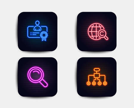 Neon glow lights. Set of International Сopyright, Certificate and Search icons. Restructuring sign. World copywriting, Best employee, Magnifying glass. Delegate.  Neon icons. Glowing light banners