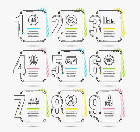 Infographic template with numbers 9 options. Set of Histogram, Tips and Person icons. Approved, Buying accessory and Update data signs. Free delivery, Shopping cart and Whiskey glass symbols. Vector