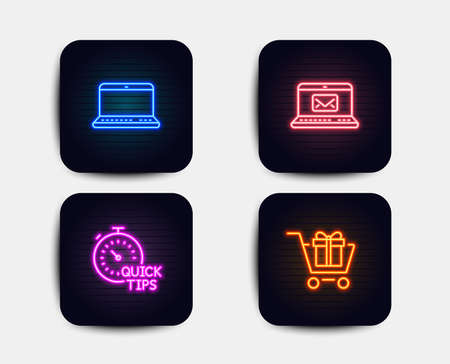 Neon glow lights. Set of E-mail, Quick tips and Notebook icons. Shopping cart sign. New message, Helpful tricks, Laptop computer. Gift box.  Neon icons. Glowing light banners. Vector Illustration