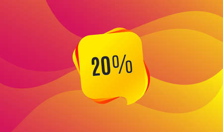 20% off Sale. Discount offer price sign. Special offer symbol. Wave background. Abstract shopping banner. Template for design. Vector Çizim