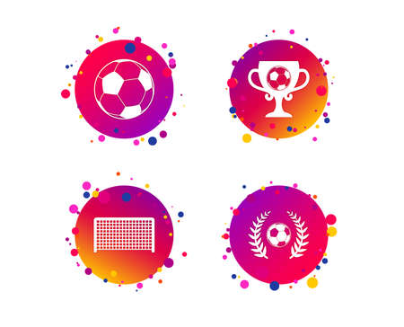Football icons. Soccer ball sport sign. Goalkeeper gate symbol. Winner award cup and laurel wreath. Gradient circle buttons with icons. Random dots design. Vector Stock Illustratie