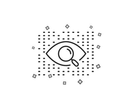 Artificial intelligence line icon. Search ai sign. Magnify glass eye. Geometric shapes. Random cross elements. Linear Artificial intelligence icon design. Vector