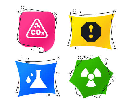 Attention and radiation icons. Chemistry flask sign. CO2 carbon dioxide symbol. Geometric colorful tags. Banners with flat icons. Trendy design. Vector