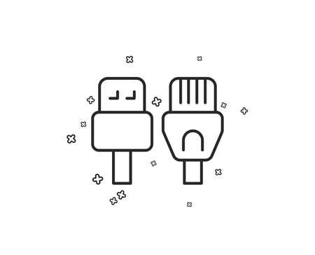 Computer cables line icon. Usb, rj45 connection wires. Geometric shapes. Random cross elements. Linear Computer cables icon design. Vector