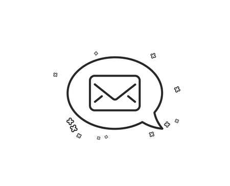 Mail line icon. Messenger communication sign. E-mail symbol. Geometric shapes. Random cross elements. Linear Messenger icon design. Vector