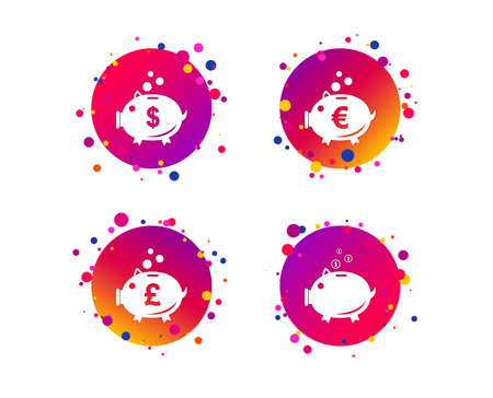 Piggy bank icons. Dollar, Euro and Pound moneybox signs. Cash coin money symbols. Gradient circle buttons with icons. Random dots design. Vector Illustration