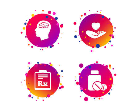 Medicine icons. Medical tablets bottle, head with brain, prescription Rx signs. Pharmacy or medicine symbol. Hand holds heart. Gradient circle buttons with icons. Random dots design. Vector Illustration