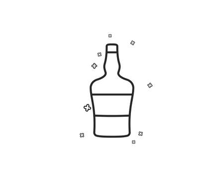 bottle line icon. Brandy alcohol sign. Geometric shapes. Random cross elements. Linear bottle icon design. Vector