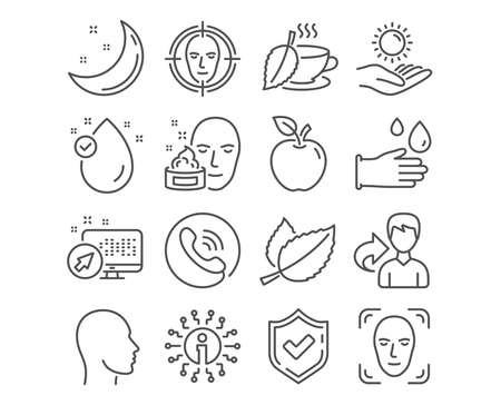 Set of Face detect, Mint leaves and Head icons. Sun protection, Vitamin e and Face cream signs. Mint tea, Rubber gloves symbols. Select target, Mentha herbal, Human profile. Vector