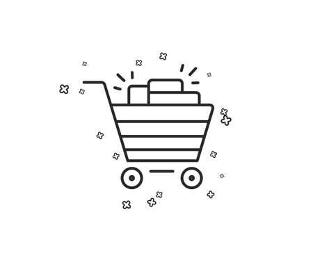 Shopping cart line icon. Sale Marketing symbol. Special offer sign. Geometric shapes. Random cross elements. Linear Shopping cart icon design. Vector