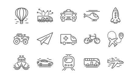 Ikony linii transportu. Taksówka, helikopter i pociąg. Zestaw ikon liniowy samolotu. Wektor