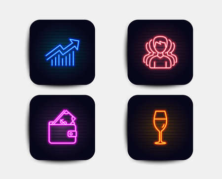 Neon glow lights. Set of Group, Wallet and Demand curve icons. Wineglass sign. Headhunting service, Usd cash, Statistical report. Burgundy glass.  Neon icons. Glowing light banners. Vector