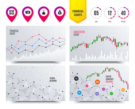 Financial planning charts. Currency exchange icon. Cash money bag and wallet with coins signs. Dollar, euro, pound, yen symbols. Cryptocurrency stock market graphs icons. Trendy design. Vector