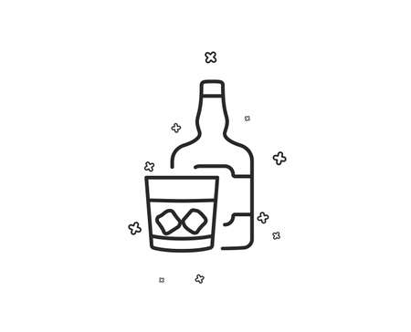 Whiskey glass with ice cubes line icon. alcohol sign. Geometric shapes. Random cross elements. Linear Whiskey glass icon design.