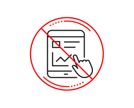 No or stop sign. Online Education line icon. Tablet PC sign. Web presentation with Charts symbol. Caution prohibited ban stop symbol. No  icon design.  Vector Illustration