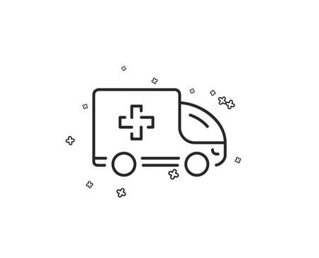 Ambulance emergency car line icon. Hospital transportation vehicle sign. Medical symbol. Geometric shapes. Random cross elements. Linear Ambulance emergency icon design. Vector