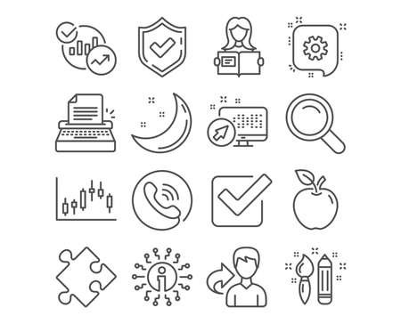 Set of Strategy, Woman read and Candlestick graph icons. Cogwheel, Creativity and Checkbox signs. Typewriter, Statistics and Search symbols. Puzzle, Girl studying, Finance chart. Vector