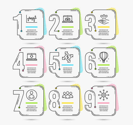Infographic template with numbers 9 options. Set of Payment exchange, Consolidation and Internet downloading icons. Online delivery, Group and Stock analysis signs. Vector