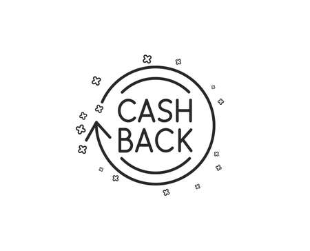 Cashback service line icon. Money transfer sign. Rotation arrow symbol. Geometric shapes. Random cross elements. Linear Cashback icon design. Vector Standard-Bild - 124721869