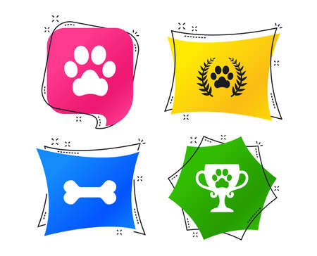 Pets icons. Dog paw sign. Winner laurel wreath and cup symbol. Pets food. Geometric colorful tags. Banners with flat icons. Trendy design. Vector Ilustrace