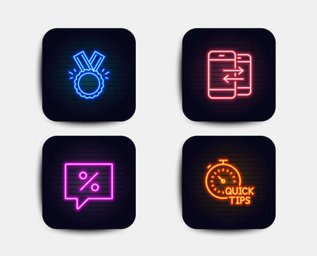 Neon set of Discount message, Phone communication and Honor icons. Quick tips sign. Special offer, Incoming and outgoing calls, Medal. Helpful tricks. Neon icons. Glowing light banners Illustration