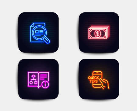 Neon glow lights. Set of Check article, Technical algorithm and Payment icons. Education sign. Magnifying glass, Project doc, Finance. Quick tips.  Neon icons. Glowing light banners. Vector