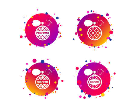 Perfume bottle icons. Glamour fragrance sign symbols. Gradient circle buttons with icons. Random dots design. Vector Illustration