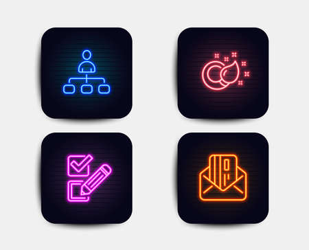 Neon glow lights. Set of Paint brush, Checkbox and Management icons. Credit card sign. Creativity, Survey choice, Agent. Mail.  Neon icons. Glowing light banners. Vector