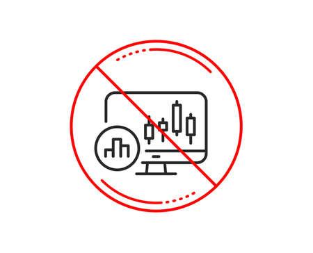 No or stop sign. Candlestick chart line icon. Analytics graph sign. Market analytics symbol. Caution prohibited ban stop symbol. No  icon design.  Vector Ilustração