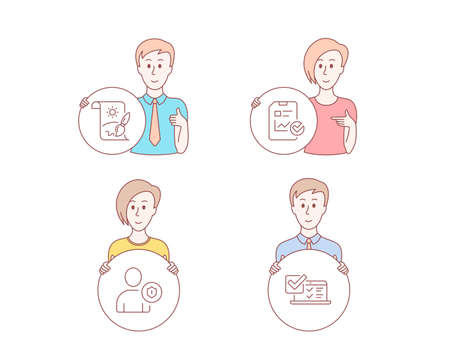 People hand drawn style. Set of Security, Report checklist and Creative painting icons. Online survey sign. Person protection, Sales growth file, Graphic art. Quiz test.  Character hold circle button
