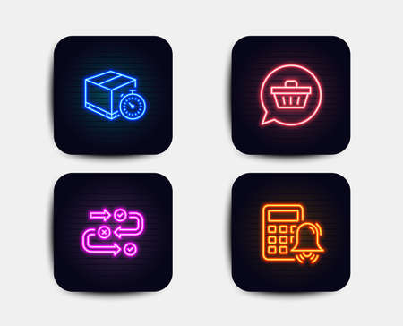 Neon glow lights. Set of Survey progress, Shopping cart and Delivery timer icons. Calculator alarm sign. Algorithm, Dreaming of gift, Express logistics. Accounting.  Neon icons. Glowing light banners